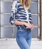 Boyfriend Top 100% Indigo- Tye Dye Dark Wash
