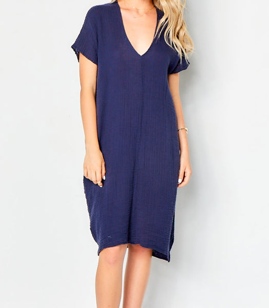 V Neck Dress Cotton Gauze - Navy