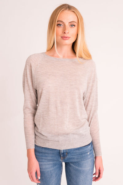 Boat Neck Sweater Tissue Cashmere - Light Grey