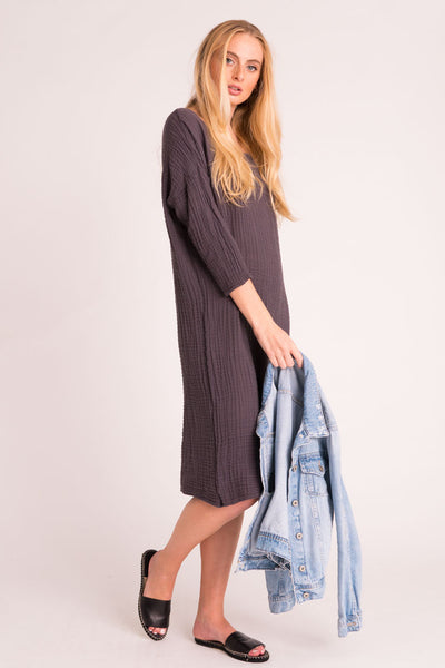 Off Shoulder Dress - Carbon
