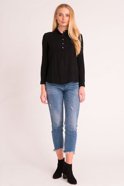 Pintuck Top Gauze -  Black