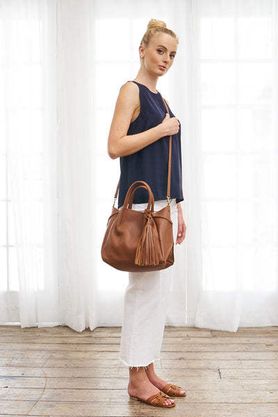 Leather Tassel Crossbody Bag - Cognac