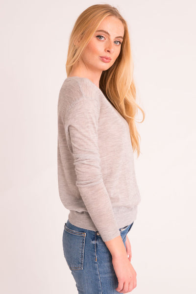 Shrunken V Neck Sweater Tissue Cashmere - Light Grey