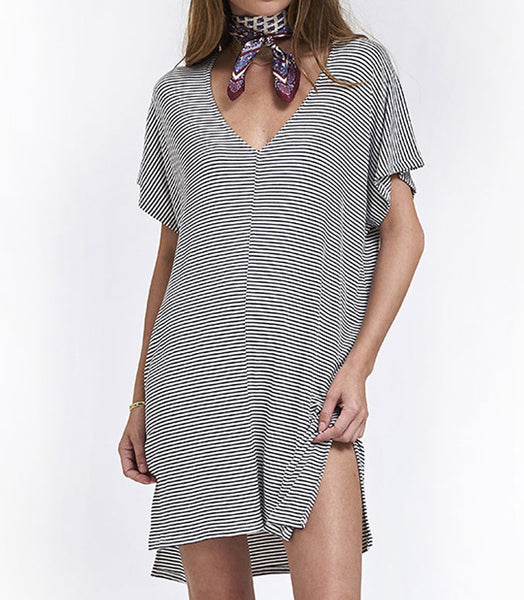 V Neck Dress Knit  - Stripe