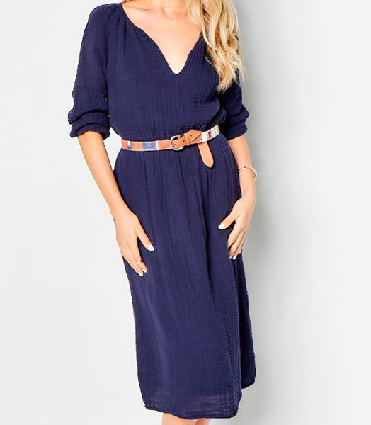 Peasant Dress Cotton Gauze - Navy