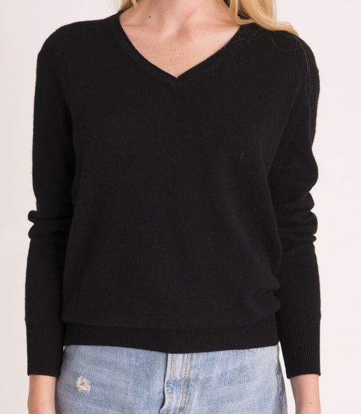 Shrunken V Neck Sweater -  Black