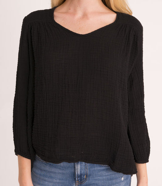 Venice Top Cotton Gauze - Black
