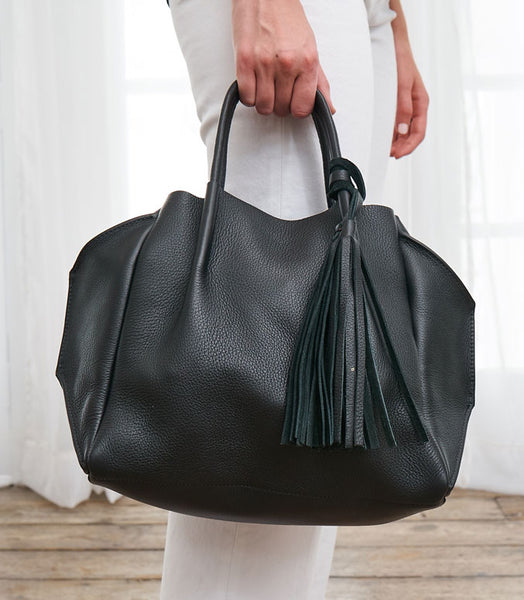 Leather Tassel Crossbody Bag - Black