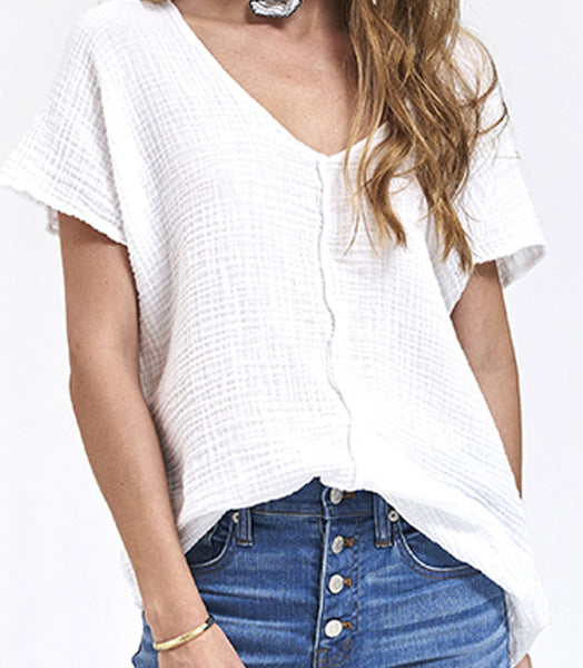 V Neck Top Gauze- White