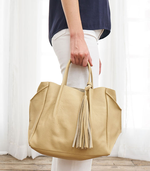 Leather Tassel Crossbody Bag - Tan