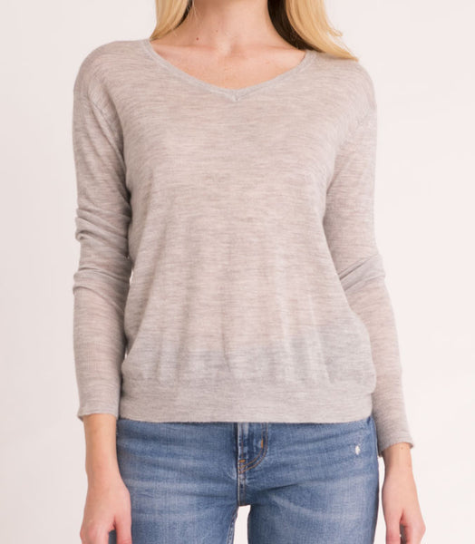 Shrunken V Neck Tissue Cashmere  - Light Grey
