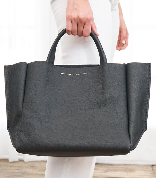 Half Tote Leather Soft - Black