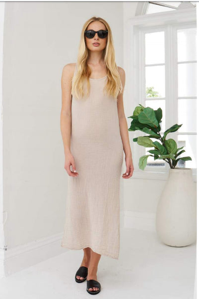 Racerback Midi Dress Cotton Gauze - Sand