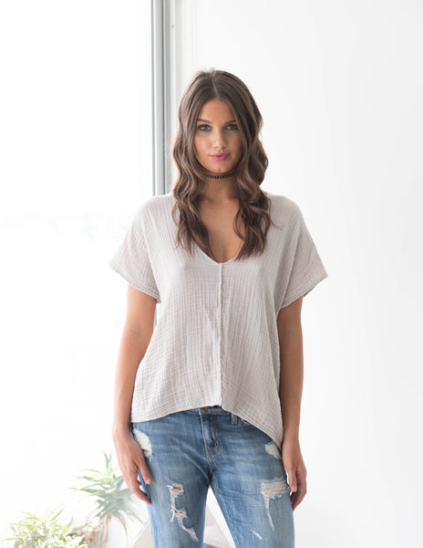 V Neck Top Gauze - Sand