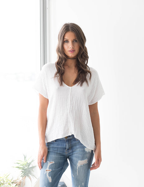 V Neck Top Gauze - White