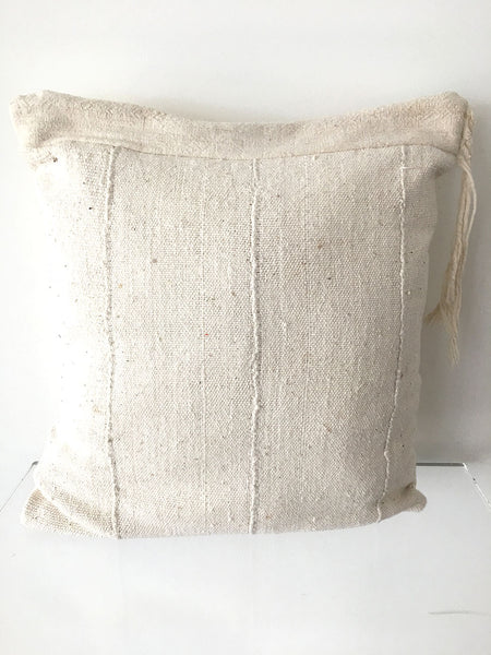 White Mud Cloth with Tassel Pillow