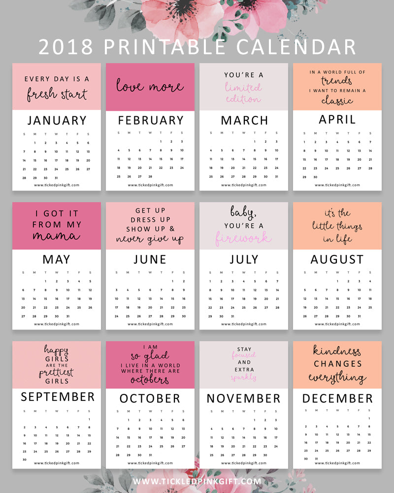 Free Printable 2018 Calendar Tickled Pink Wholesale