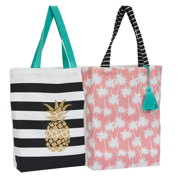 Summer Canvas Printed Totes Set/2