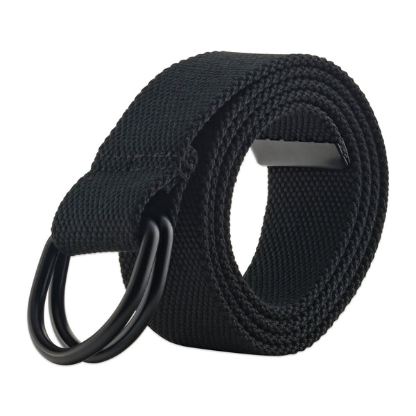 Mens And Womens D-Ring Canvas Belt Black S