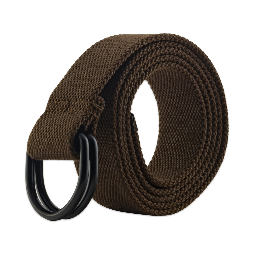 Mens And Womens D-Ring Canvas Belt Brown Xs