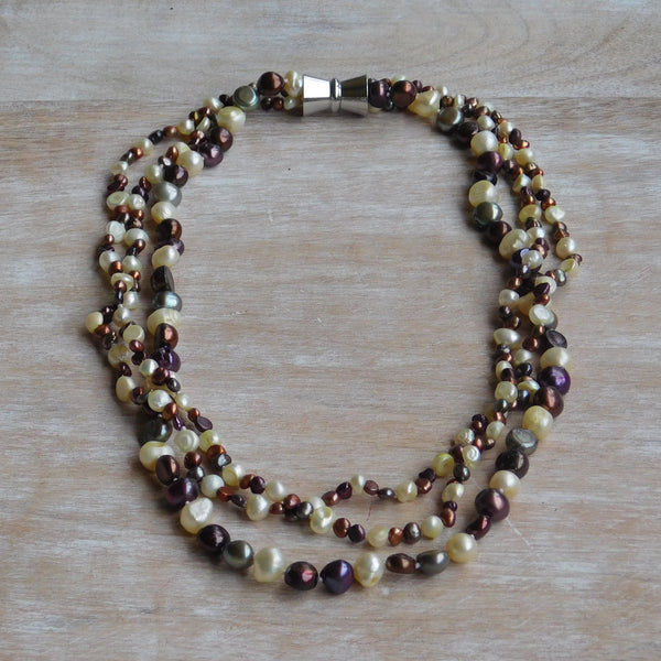 3-Strand Pearl Necklace - Multibrown