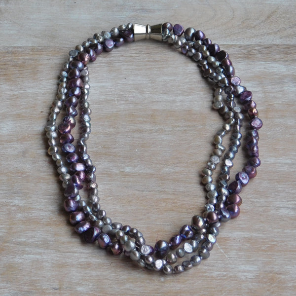 3-Strand Pearl Necklace - Multipurple