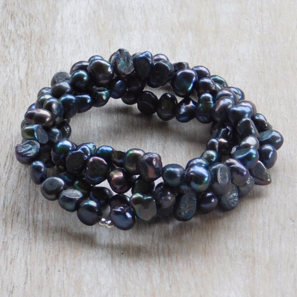 Pearl Stretch Bracelet - Dark Blue
