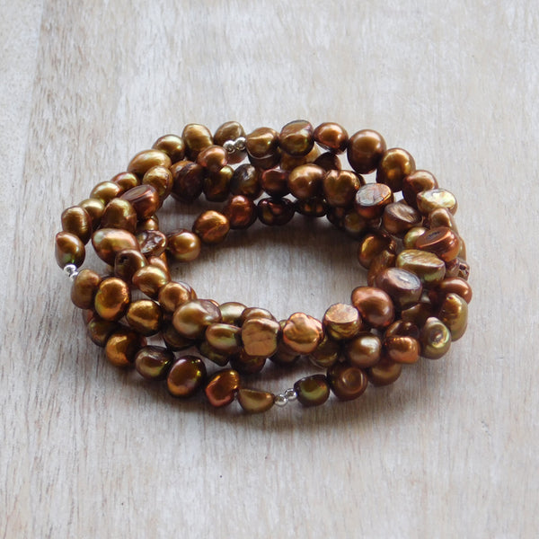 Pearl Stretch Bracelet - Brown