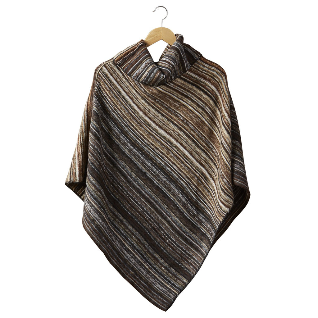 Farrah Stripe Poncho - Brown