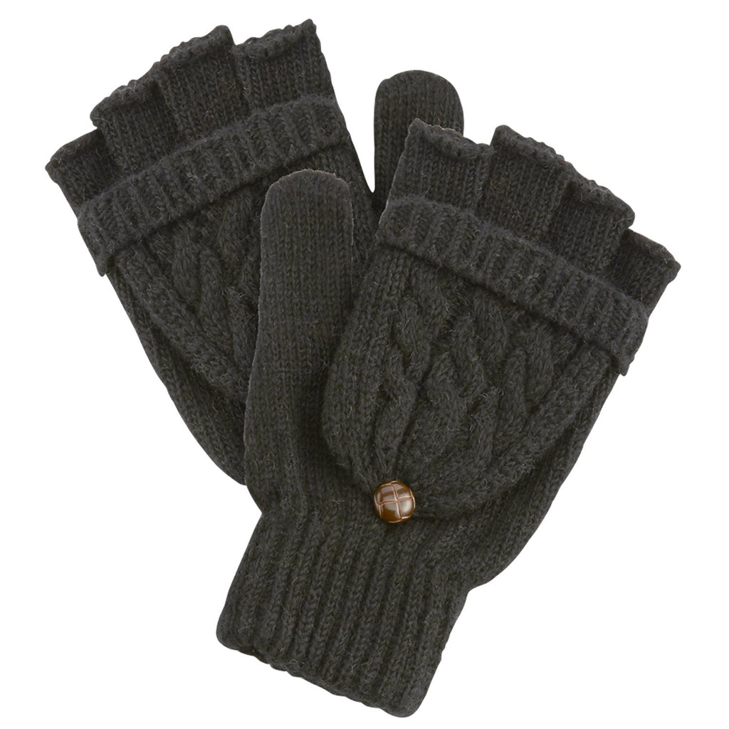Winter Cableknit Gloves - Black
