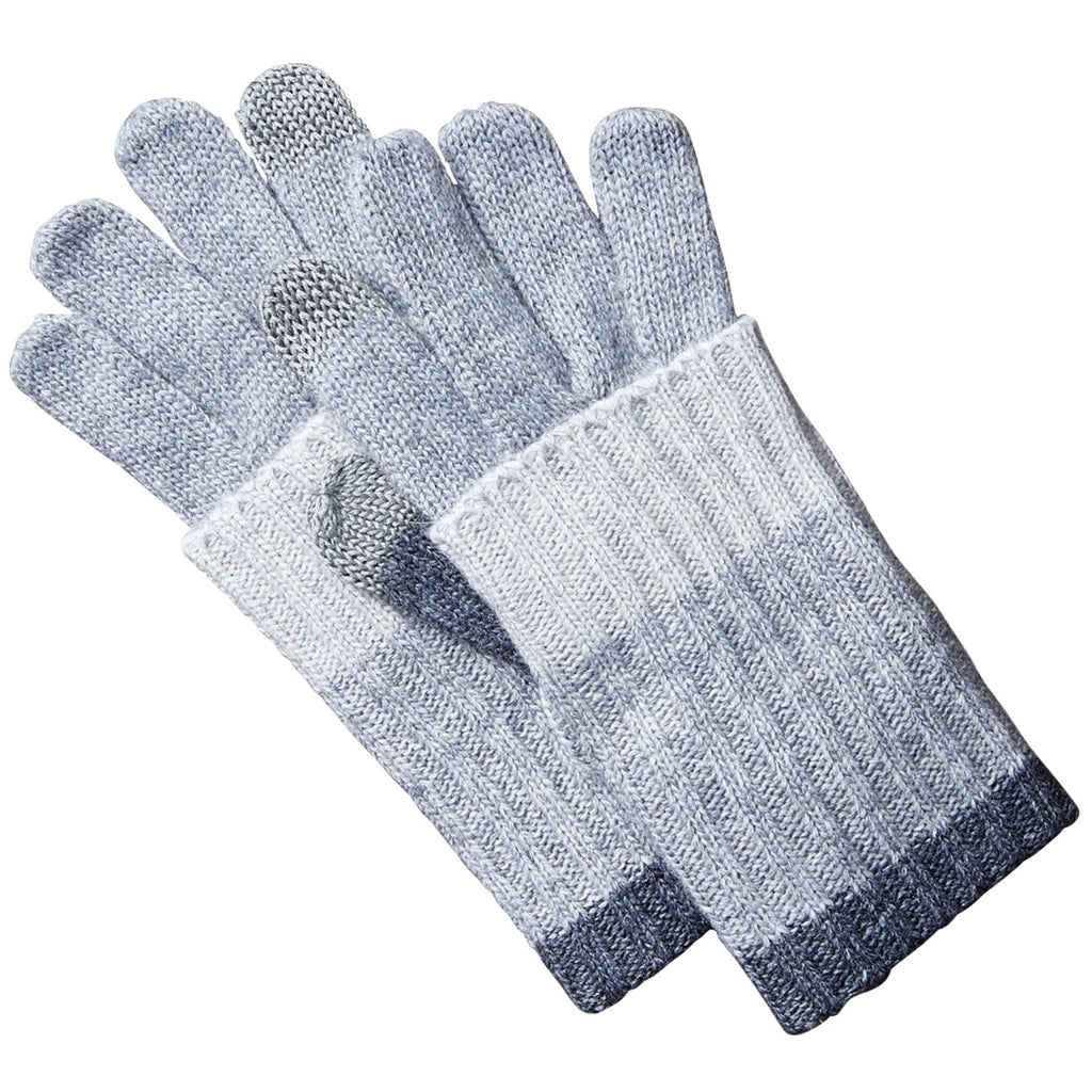 Striped Knit Texting Gloves - Gray