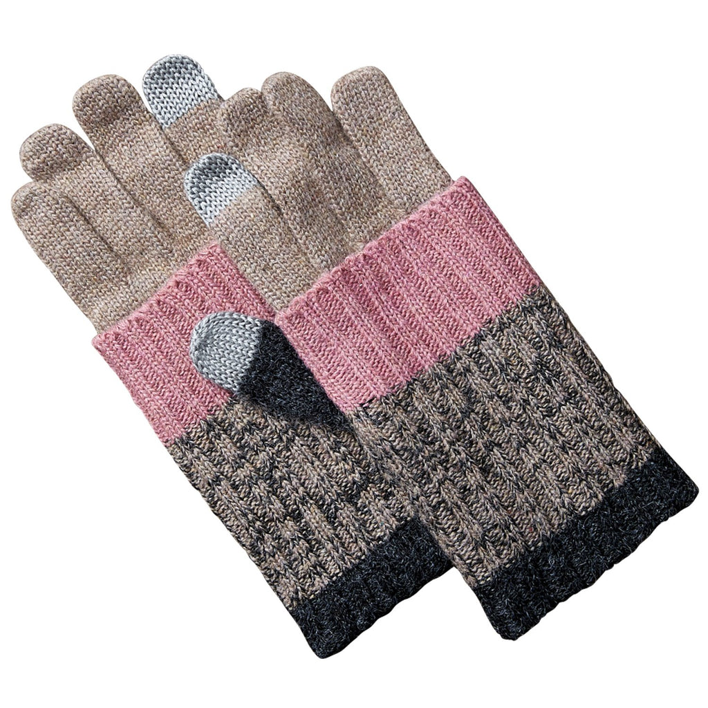 Striped Knit Texting Gloves - Brown