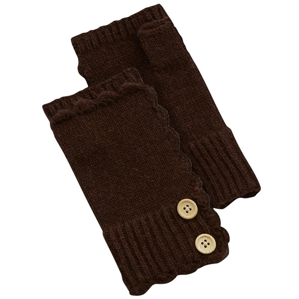 Fingerless Knit Gloves With Buttons - Brown