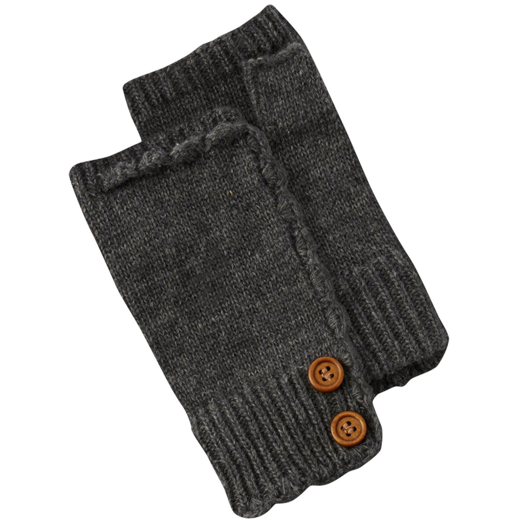 Fingerless Knit Gloves With Buttons - Dark Gray