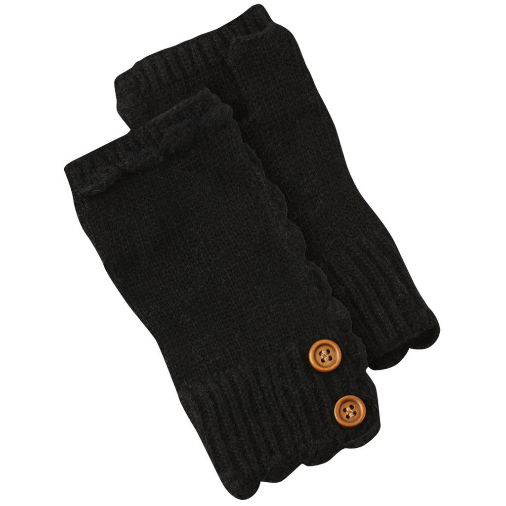 Fingerless Knit Gloves With Buttons - Black