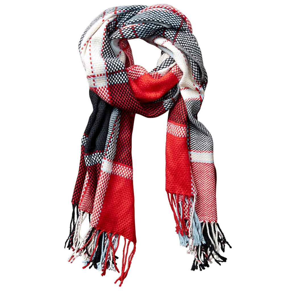 Kendall Fall Plaid Scarf - Red
