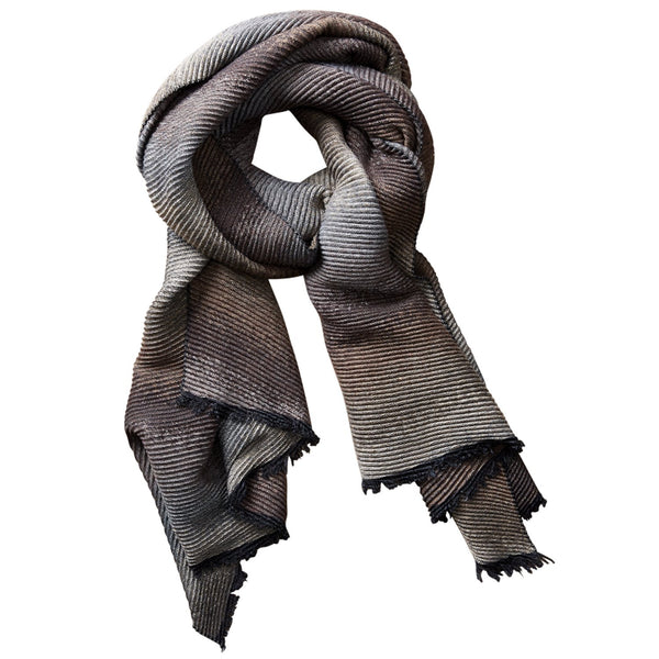 Ombre Ridged Scarf - Brown & Gray