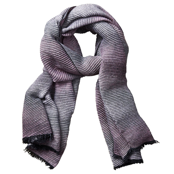 Ombre Ridged Scarf - Pink & Gray