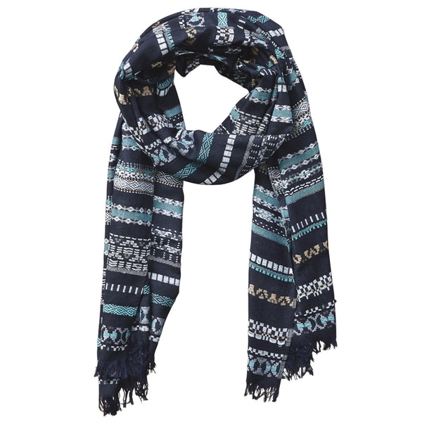 Ridge Stripe Dobby Scarf - Navy