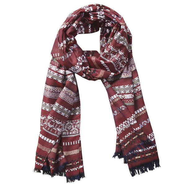 Ridge Stripe Dobby Scarf - Red