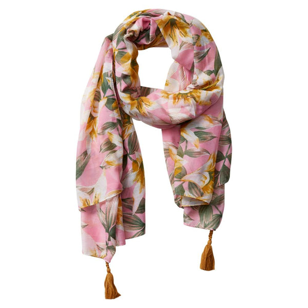 Wholesale Scarves - Anvi Floral Scarf - Pink - Tickled Pink