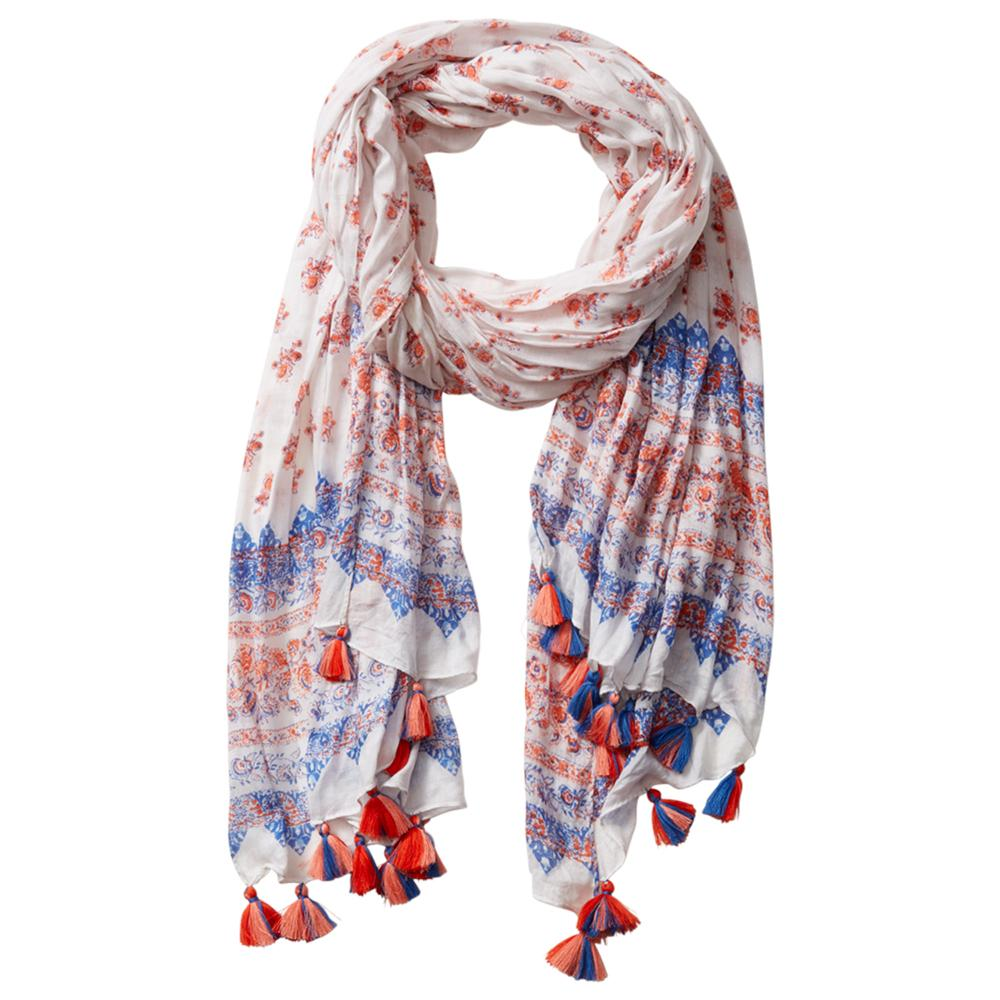 Wholesale Scarves - Rohan Signature Scarf - Orange & White - Tickled Pink