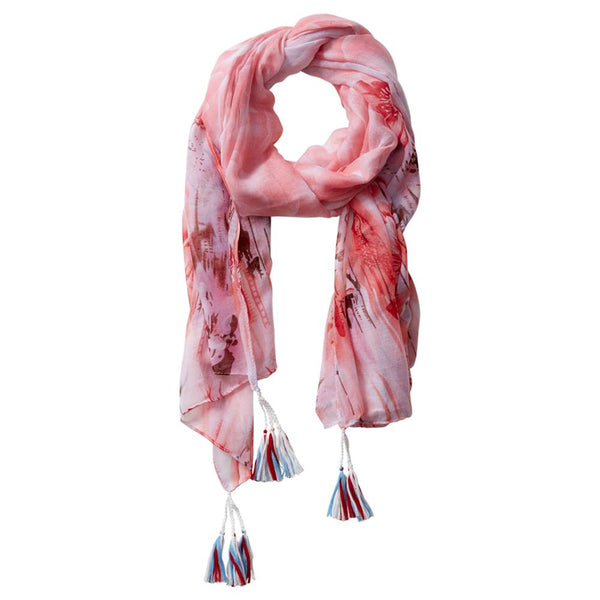 Wholesale Scarves - Floral Escape Tassel Scarf - Pink - Tickled Pink