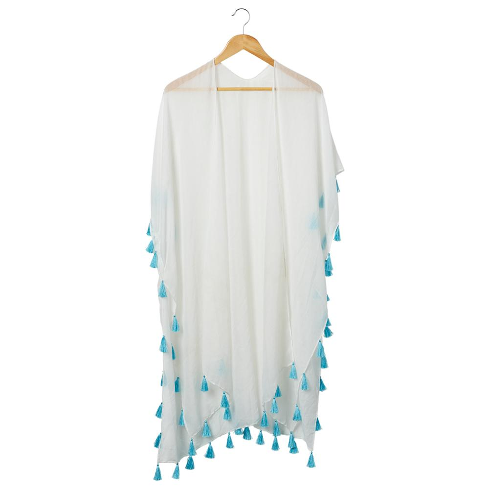 470694ba45 Wholesale Scarves - Bondi Beach Cover Up - White With Teal Tassels -  Tickled Pink