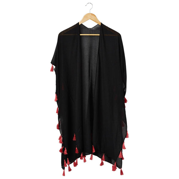 Wholesale Scarves - Bondi Beach Cover Up - Black With Coral Tassels - Tickled Pink