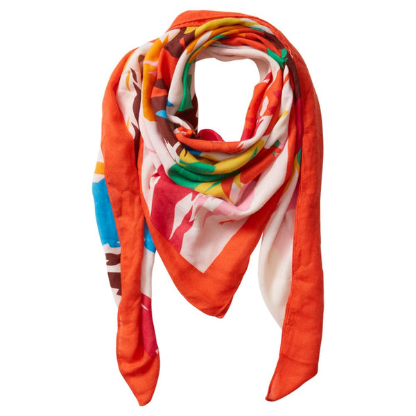 Wholesale Scarves - Paint Brush Square Scarf - Orange - Tickled Pink
