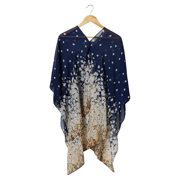 Wholesale Scarves - Field Of Flowers Poncho - Navy - Tickled Pink