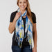 Large Bunch Floral Fringe Scarf - Blue