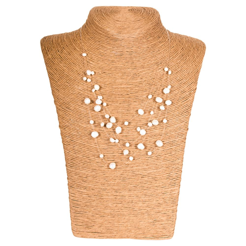 Wholesale Scarves - White Pearl Illusion Necklace - Tickled Pink