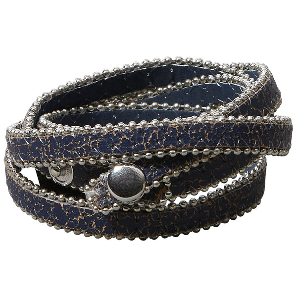 Long Faux Leather Wrap - Navy